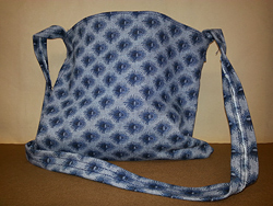 blue pattern canvas tote