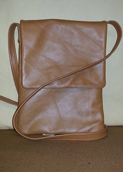 brown padded leather tablet bag