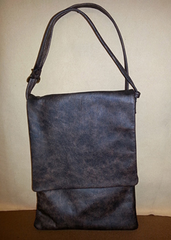 distressed brown padded leather tablet bag