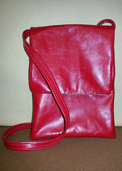 red padded leather tablet bag